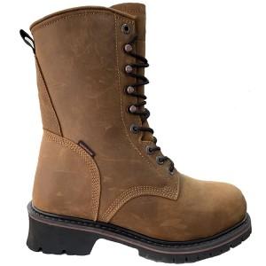 Oil dark brown crazy horse logger boot